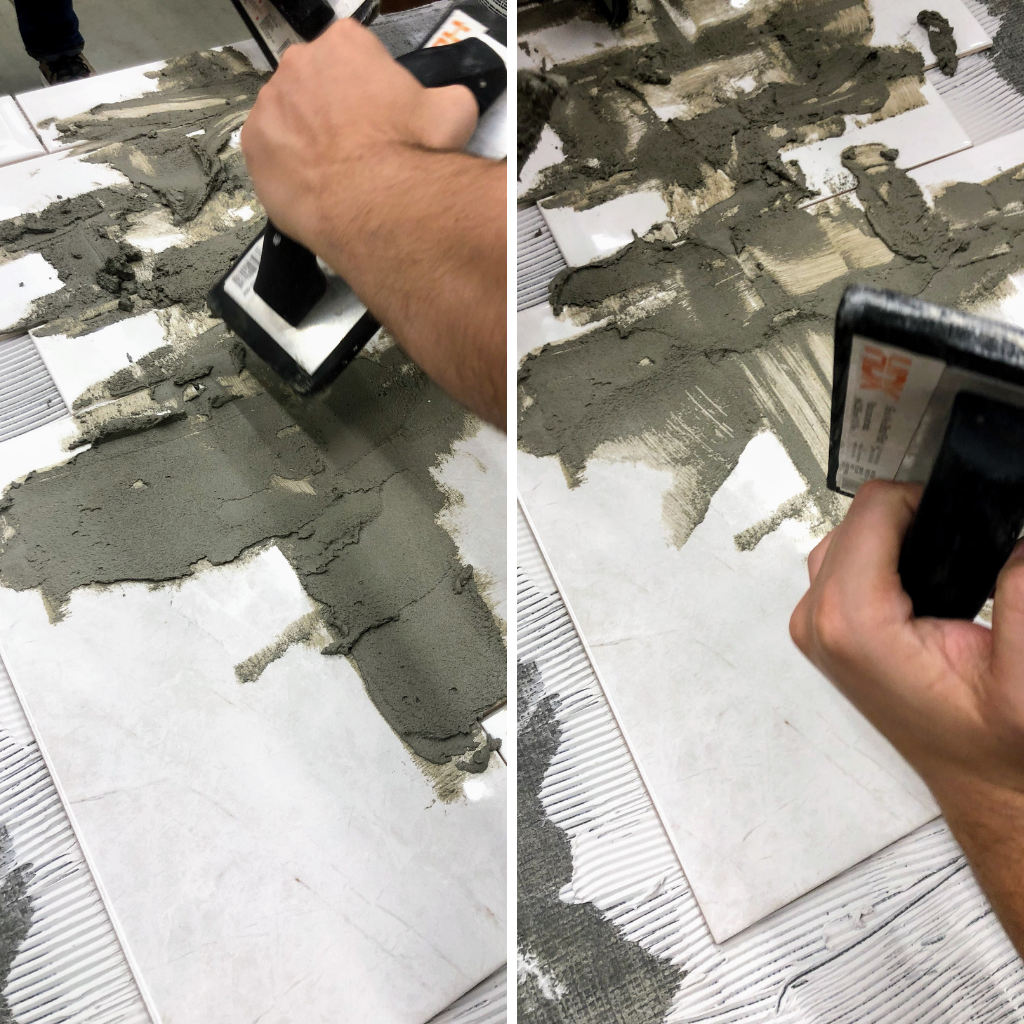 laying down grout over tile