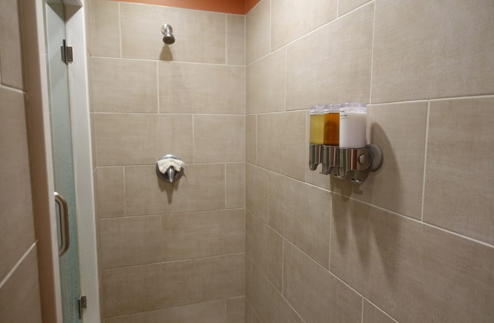 View of the shower in the float therapy room