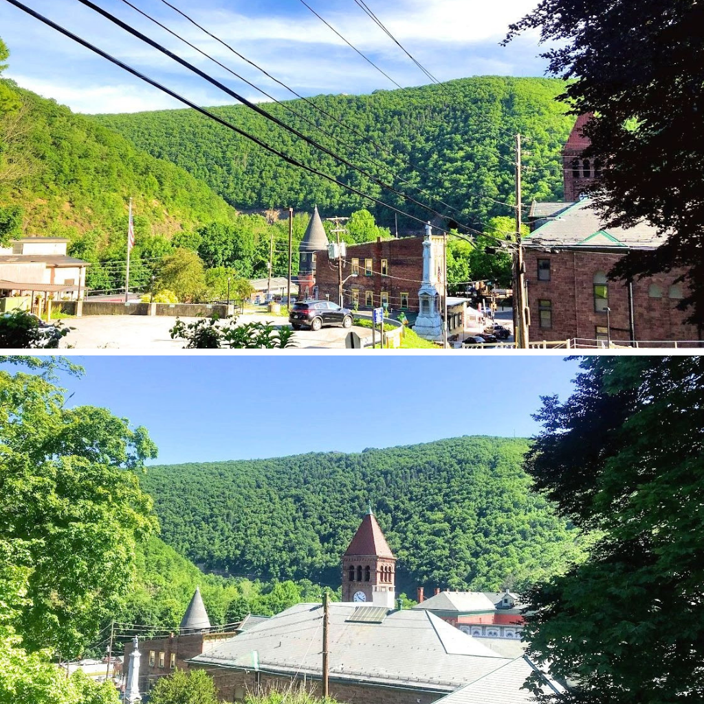 view of downtown Jim Thorpe near the Asa Packer Mansion