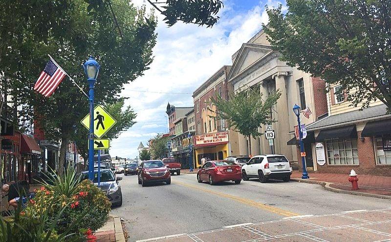 Westbound Bridge Street between Main Street and Gay Street in Phoenixville, Pennsylvania