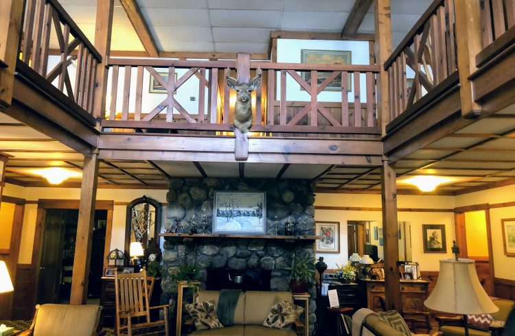 Lobby area at Carlson's lodge in New Hampshire