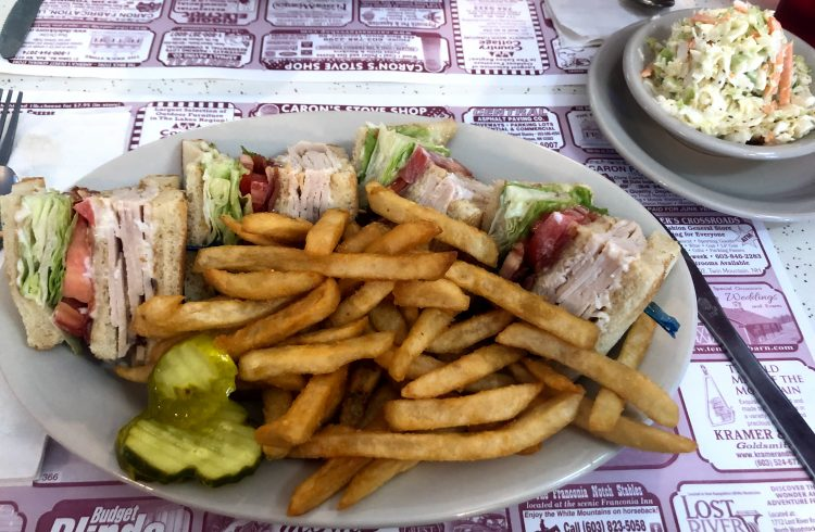 turkey club meal from Munroe's family diner in New Hampshire