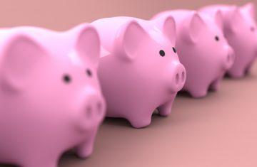 a row of pink piggy banks