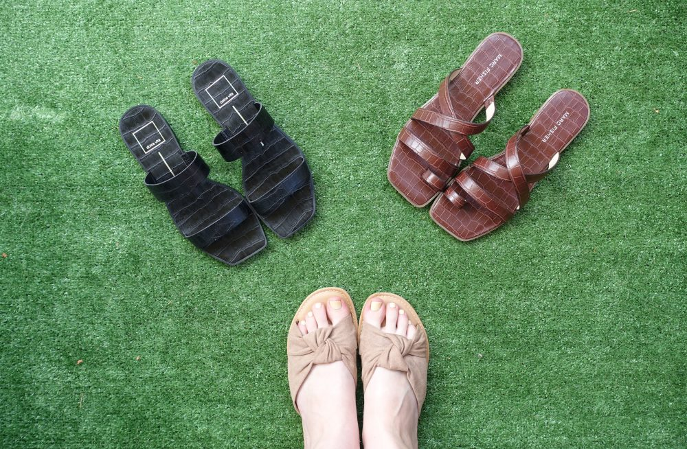 woman wearing summer sandals with other options