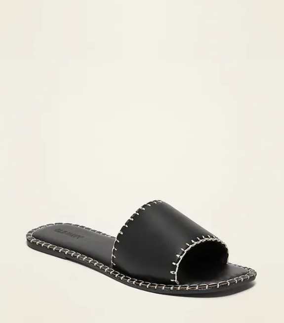 faux leather whip stitched slide sandal from Old Navy in black