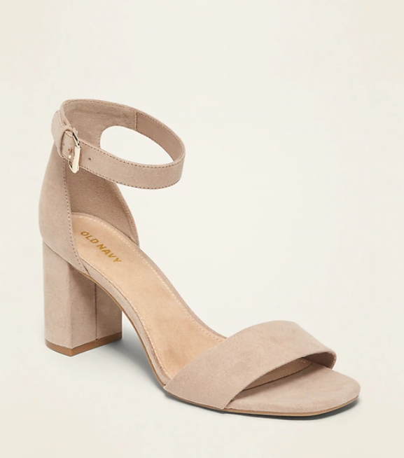 faux suede high heel block sandals from old navy in tan