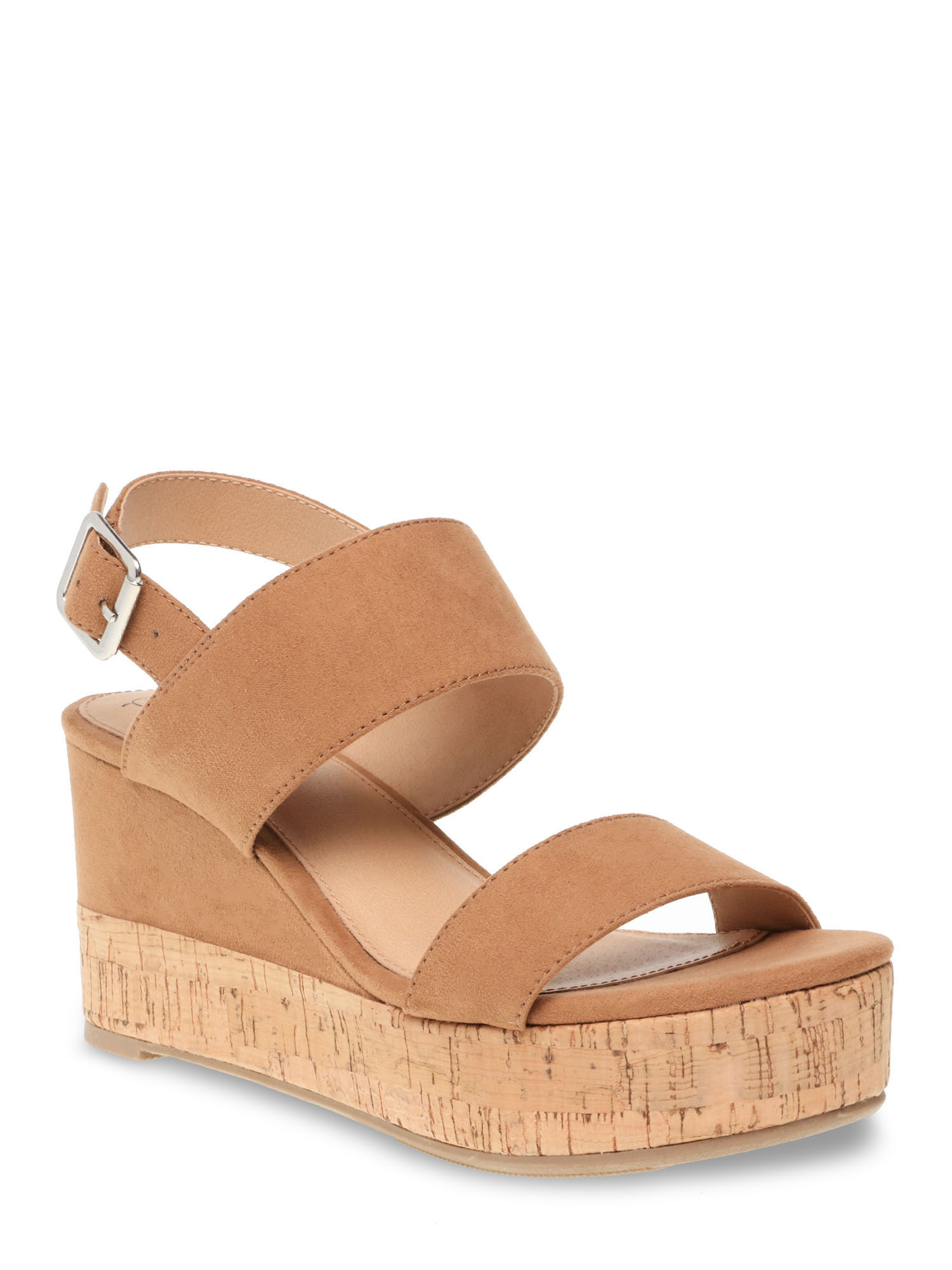 time and tru covered cork wedge in tan