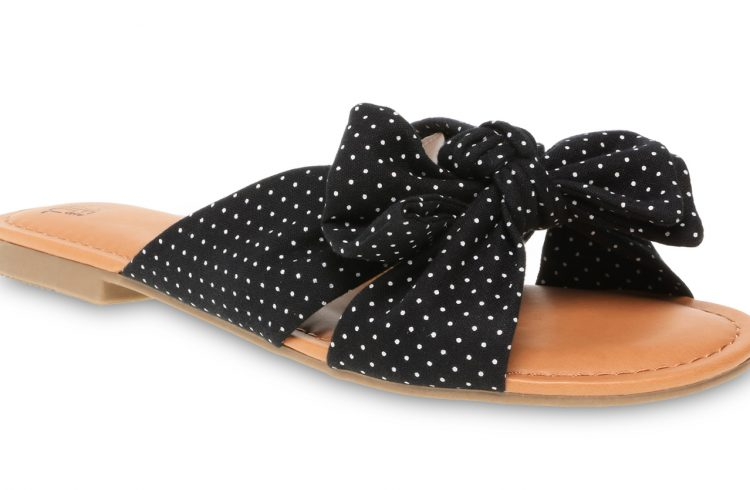 time and tru polka dot bow slide sandal in black from walmart