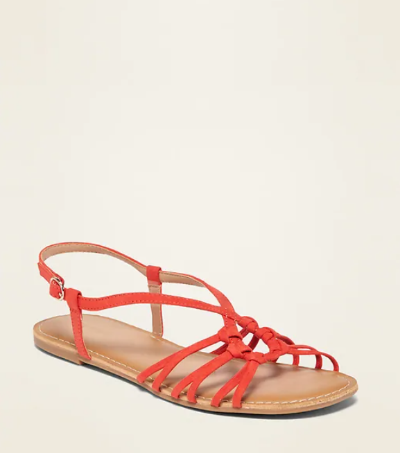 faux suede circular strappy sandals by old navy in tamarind