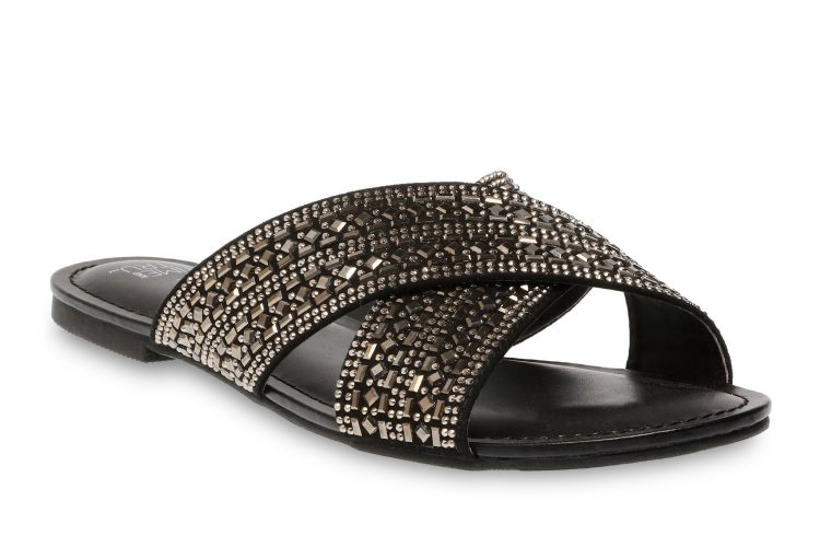 time and tru embellished cross band sandal in black