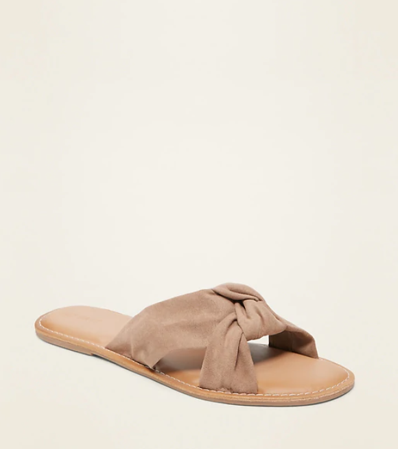 knotted twist slide sandals from old navy in tan